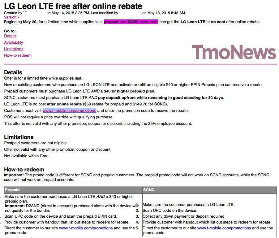 The alleged leaked T-Mobile memo - T-Mobile rumored to give away the LG Leon LTE for free to prepaid customers