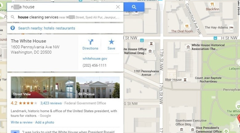 """Inappropriate responses to offensive searches are being removed from Google Maps - Online discussions led to the """"N-word"""" linking to the White House on Google Maps"""