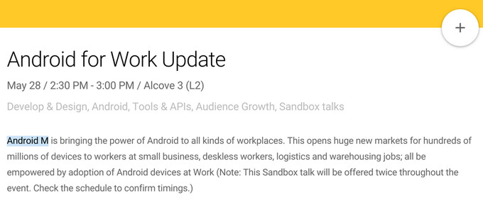 Android M being referenced in the Google I/O schedule of events - Android M rumors, features, release date, and all we know so far