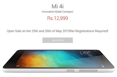 Xiaomi Mi 4i goes on open sale in India starting on Monday - Flipkart to host open sale of Xiaomi Mi 4i on May 25th and 26th