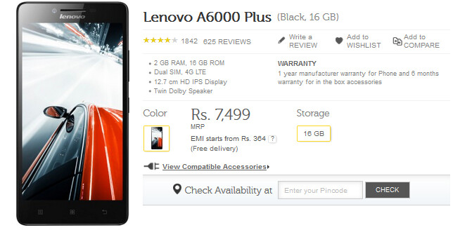The Lenovo A6000 Plus will be available from Flipkart starting tomorrow - Lenovo A6000 Plus goes on sale again in India; no registration or flash sale this time