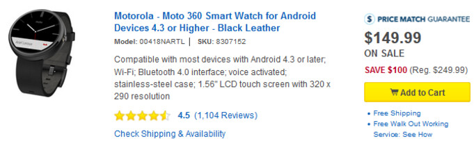 Take $100 off the price of the Motorola Moto 360 at Best Buy - Motorola Moto 360 just $149 for a limited time from Best Buy