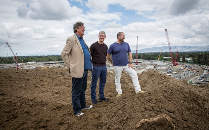 From left to right, Stephen Fry, Tim Cook and Jony Ive - Report: Jony Ive gets promoted to Chief Design Officer at Apple