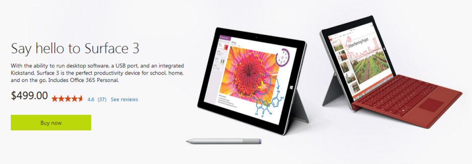 Microsoft Surface 3 is available from the Microsoft Store - Microsoft releases short videos showing features of the Surface 3 tablet