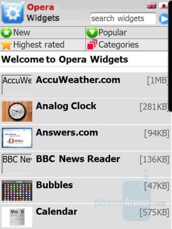 Widgets Webpage