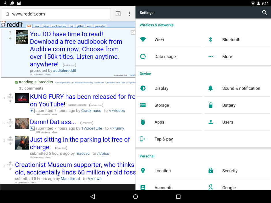 Experimental MultiWindow-like feature on Android Marshmallow. Screenshot courtesy of DoesntPostAThing @ Reddit - Android Marshmallow preview: An exploration of Google's latest firmware
