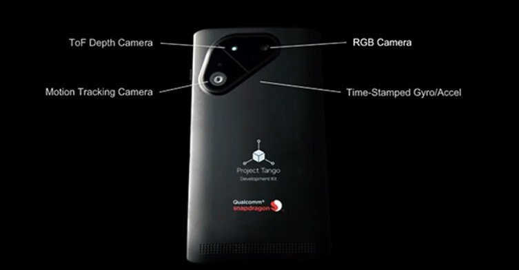 This slide appears to show the back cameras on Qualcomm and Google's Project Tango phone - Project Tango developers' phone coming from Google and Qualcomm powered by Snapdragon 810 SoC