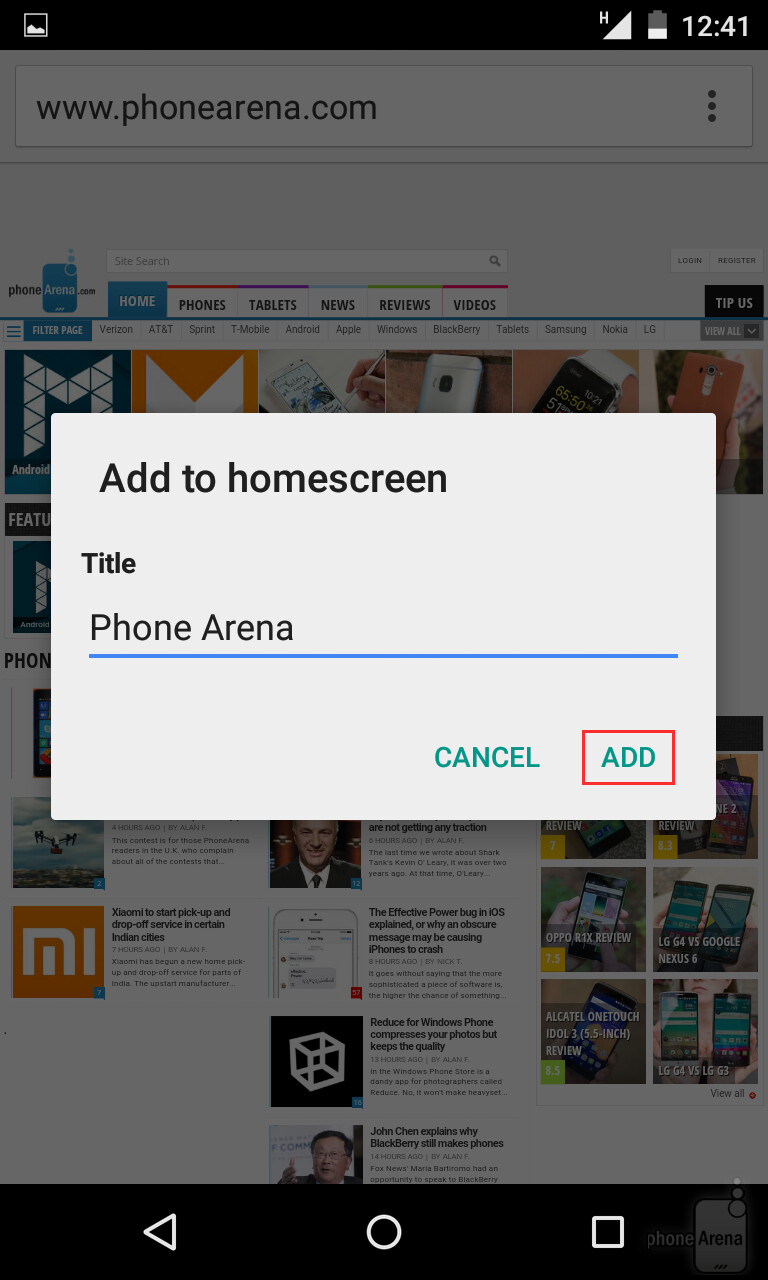 how to add website to home screen on pc