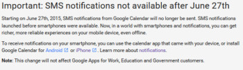 Google Calendar's last day to send text alerts is June 27th