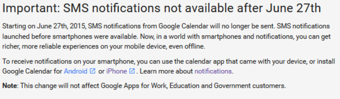 Google Calendar's last day to send text alerts is June 27th - No text alerts from Google Calendar after June 27th; messages will set off notifications only