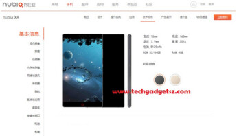 Image of ZTE Nubia X8 now removed from the manufacturer's website