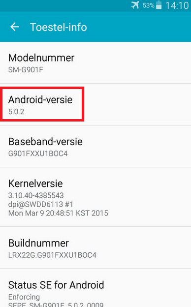Android 5.0.2 tested for the Samsung Galaxy S5
