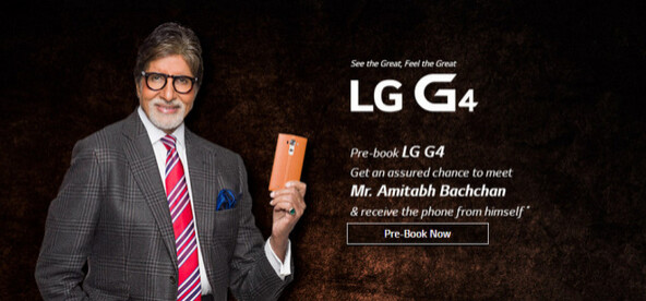 Pre-order your LG G4 from LG India and you might receive your phone from a Bollywood legend - Mid June launch for the LG G4 in India; pre-order now and receive your phone from a Bollywood legend