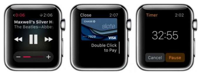 Three things you can do with your Apple Watch without being paired to an iPhone. From left to right you can listen to a synced play list, make an Apple Pay payment, or use your timer, stop watch or alarm - These are the things you can do with your Apple Watch when it is not paired with an iPhone
