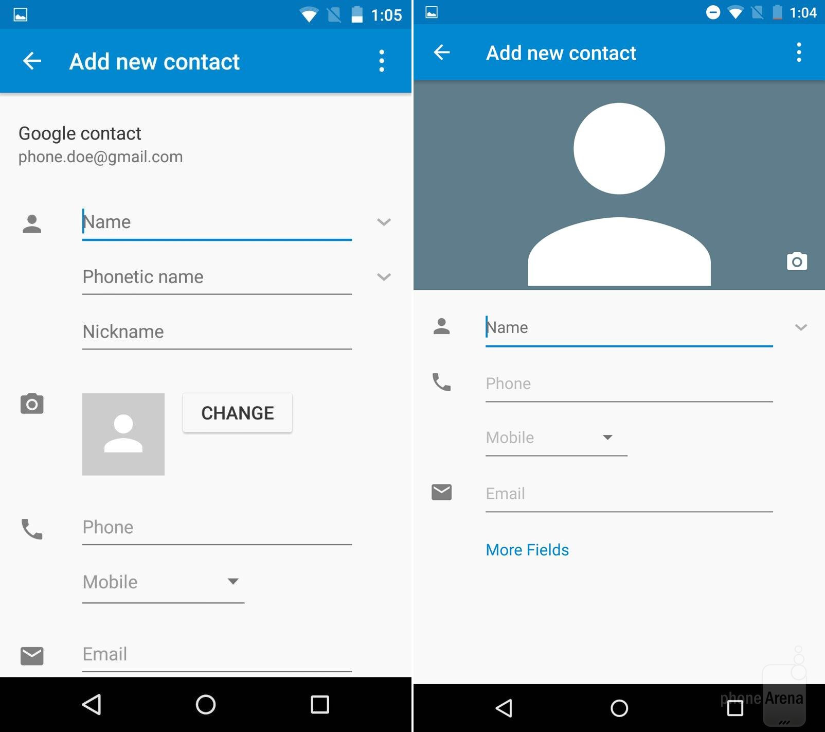 Google Contacts: Android M Vs Android Lollipop: A Visual Comparison