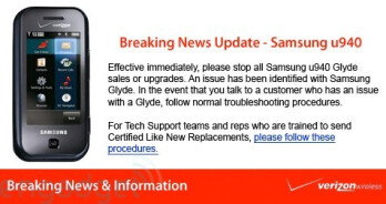 UPDATED: Verizon pulls the Samsung Glyde from the shelves?