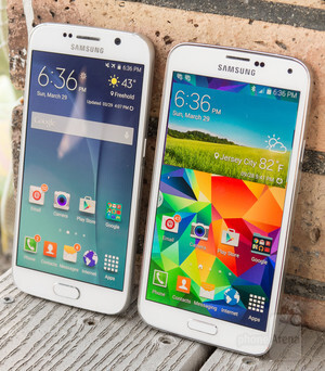 The Galaxy S6 with its Quad HD screen next to the Galaxy S5 with its 'old-fashioned' 1080p display - Quad HD vs 1080p display resolution: can people actually see the difference?
