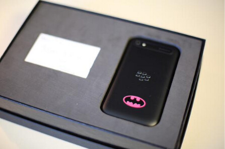 """Special version of the BlackBerry Classic sent to John Legere as a birthday present from John Chen - BlackBerry CEO John Chen sends T-Mobile chief John Legere a special """"Batman"""" BlackBerry Classic"""