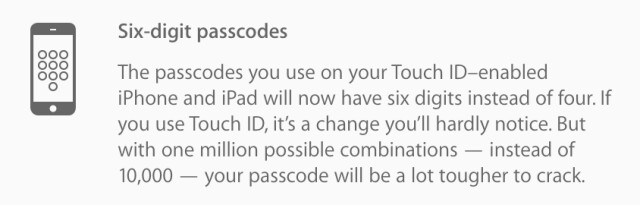 Apple's iOS 9 to ditch 4-digit passcodes, introduces 6-digit