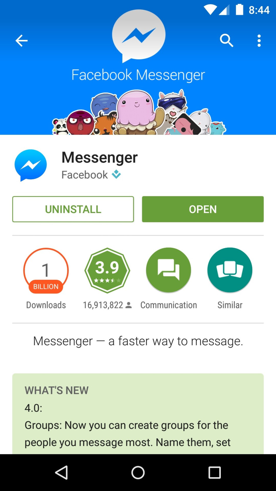 Facebook Messenger for Android hits 1 billion downloads