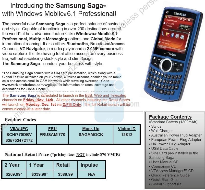 Samsung Saga I770 - EXCLUSIVE: Touch Pro, Saga and Renown for Verizon