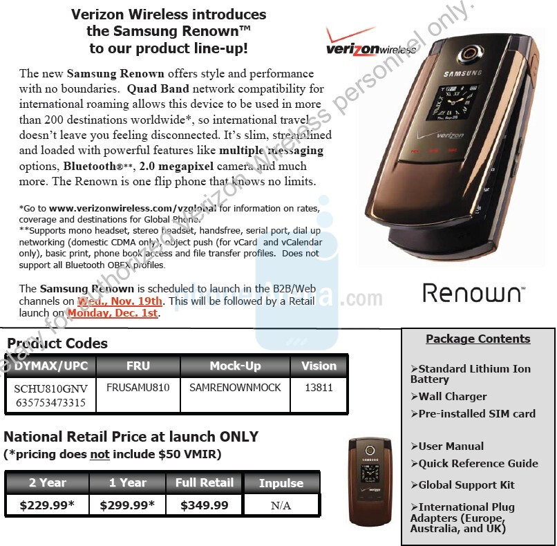 Samsung Renown - EXCLUSIVE: Touch Pro, Saga and Renown for Verizon