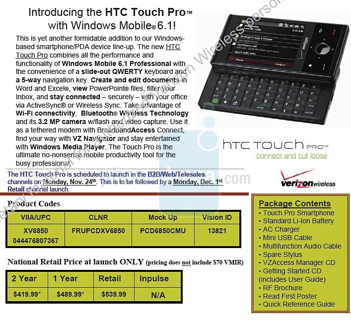 HTC Touch Pro - EXCLUSIVE: Touch Pro, Saga and Renown for Verizon