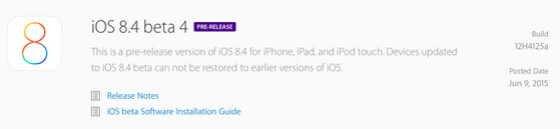 Apple releases iOS 8.4 beta 4 - Apple releases iOS 8.4 beta 4