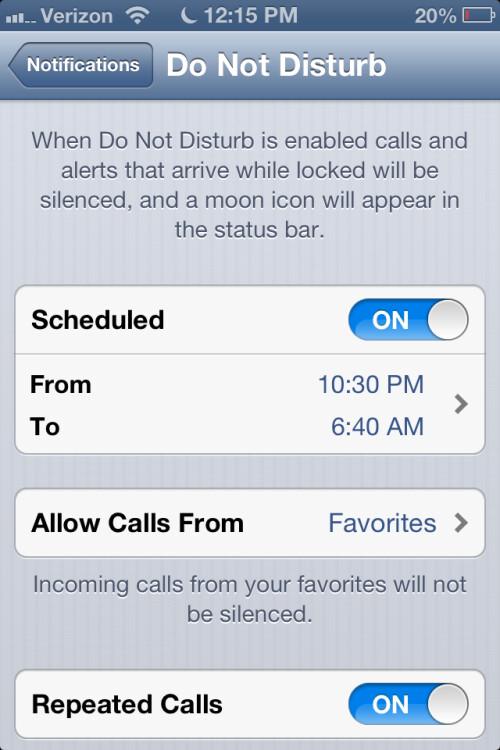 Repeat caller alerts in Do Not Disturb mode