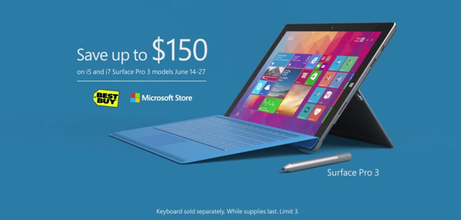 Some Microsoft Surface Pro 3 models are now $150 cheaper in the US
