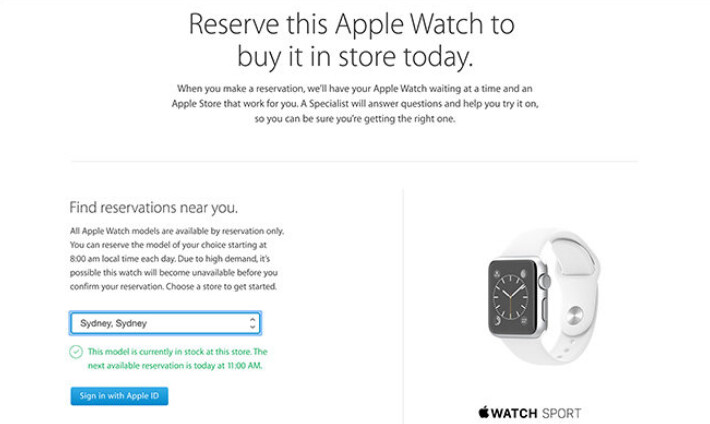 Australians can reserve an Apple Watch online and pick it up at a nearby Apple Store - Apple Watch available for in-store pickup in Australia and U.K.; U.S. stores next?