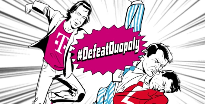 John Legere poses as a superhero in T-Mobile's new #DefeatDuopoly campaign