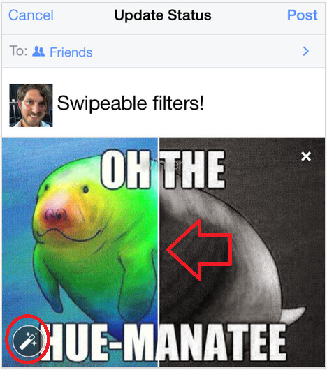 Vertical line means that you can swipe to see the effect of different filters; click on the magic wand...