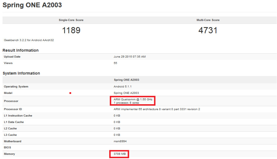 Is this a version of the OnePlus 2 rockin' 4GB of RAM? - OnePlus 2 model with 4GB of RAM visits GFXBench site?