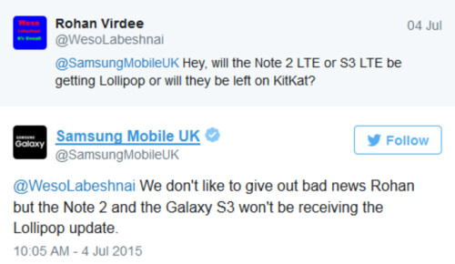 Samsung U.K. says there will be no Android 5.0 update for the Samsung Galaxy Note II and the 3G only Samsung Galaxy S III