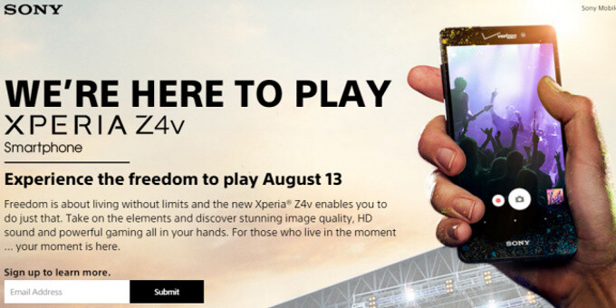 Sony's most spec'd-out phone, the Xperia Z4v, coming to Verizon on August 13, price unknown