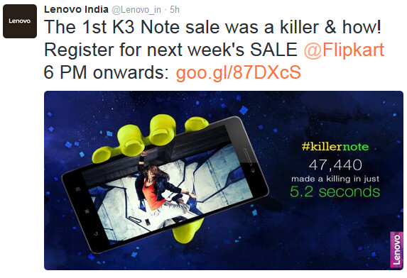 Lenovo announces results of Lenovo K3 Note flash sale - Gone in a flash: In 5.2 seconds, 47,440 Lenovo K3 Notes are sold