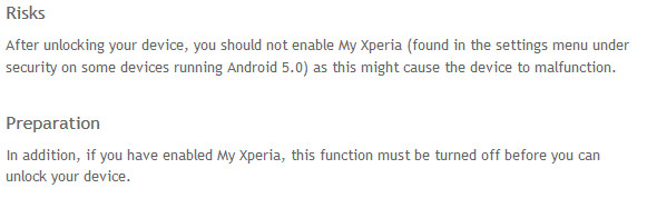 Sony changes the wording on its Unlock Bootloader website to reflect the risks of using MXTP - Sony's My Xperia Theft Protection breaking certain bootloader unlocked models