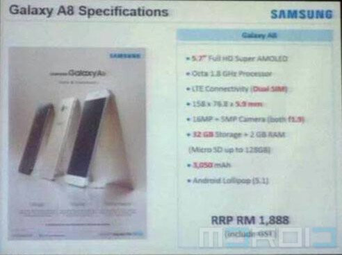 Full Galaxy A8 dimensions pop up, just 5.94mm thin, price pegged at $500