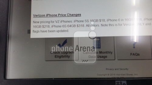 Internal Walmart memo leaks the pricing of the Verizon branded Apple iPhone 6s on contract