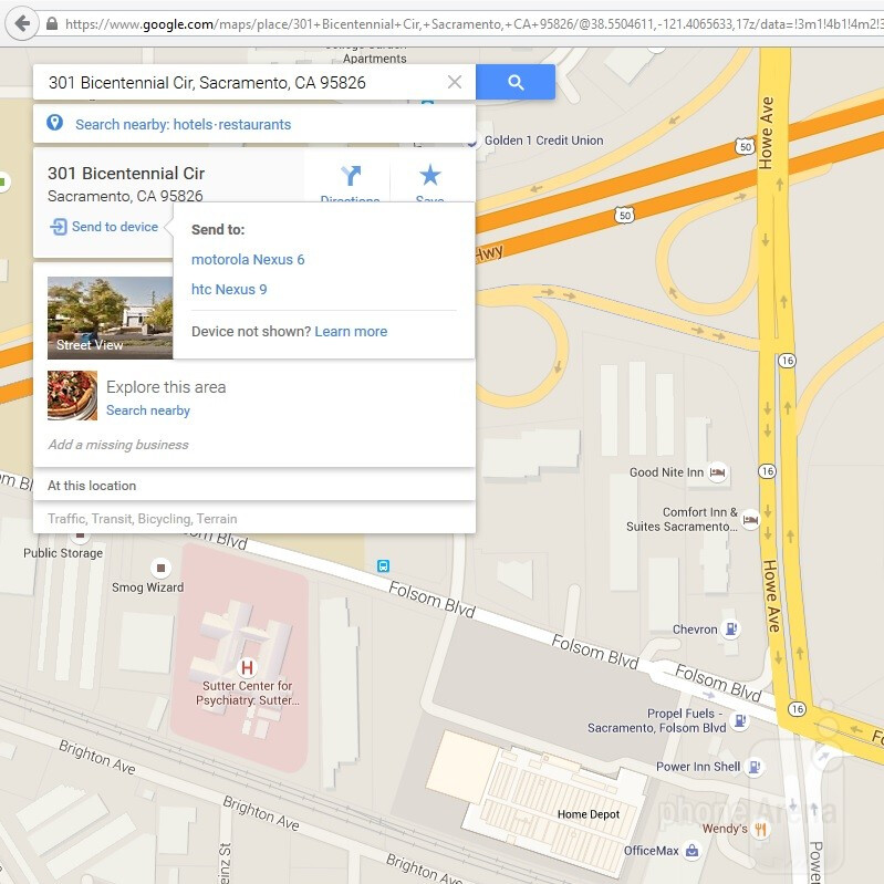 google maps desktop to android