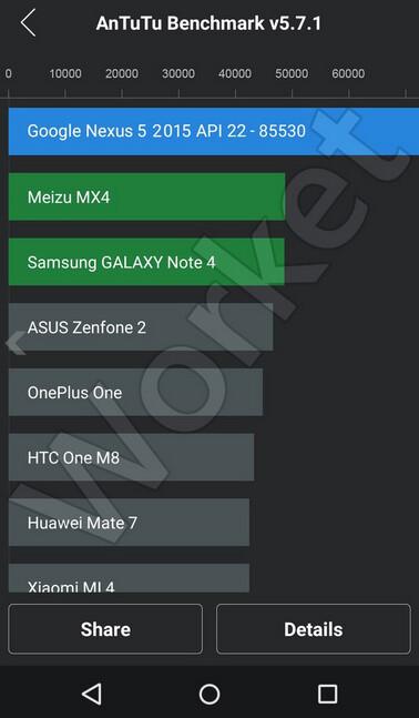The Nexus 5 (2015) scores 85,530 on AnTuTu