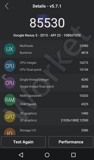 The Nexus 5 (2015) scores 85,530 on AnTuTu