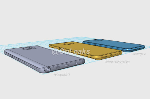Previously leaked images of the Galaxy S6 edge Plus sized up with the Note 5