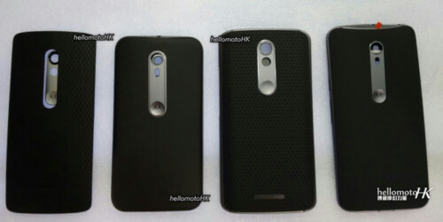 Rear panel of the Moto X is claimed to be the one at the far right while the one on the far left is for a new DROID mini
