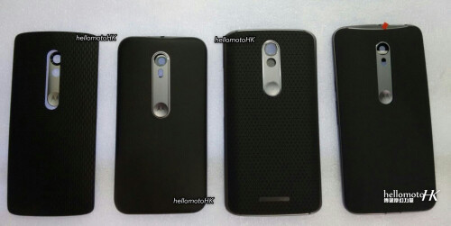 From left to right, these could be the new Motorola Droid Mini, Moto G (2015), new Motorola Droid, and Moto X (2015)