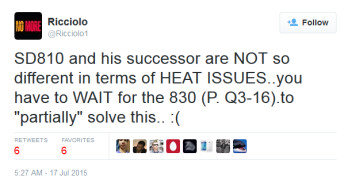 Tweet from self-proclaimed tech secret agent Riccolio says that the Snapdragon 820 SoC overheats like the Snapdragon 810 does