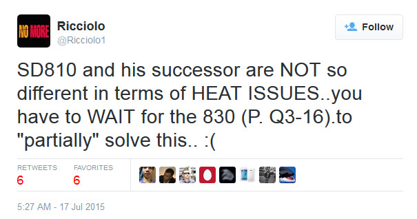Tweet from self-proclaimed tech secret agent Riccolio says that the Snapdragon 820 SoC overheats like the Snapdragon 810 does - Snapdragon 820 SoC rumored to have overheating issues just like the Snapdragon 810 chipset