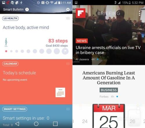 LG G4 vs Galaxy S6, interface comparison