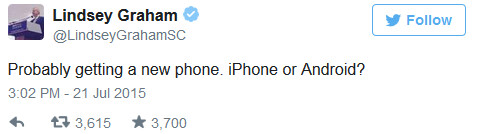 Senator Graham is getting a smartphone! - Senator Lindsay Graham, whose cell number was outed by Trump, shows you how to destroy a phone